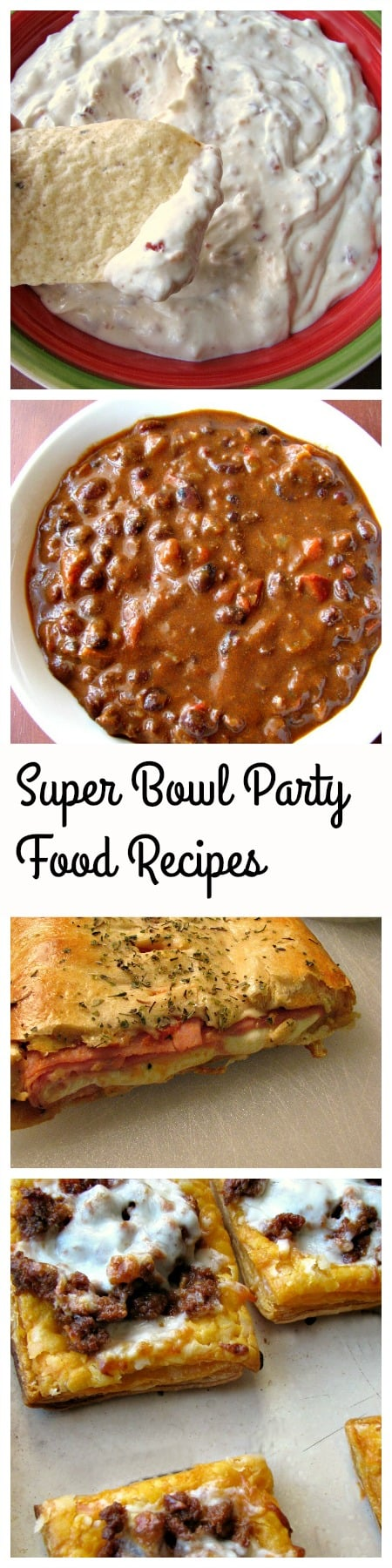 15 Winning Super Bowl Party Recipes including Chorizo and Black Bean Chili, Ham and Cheese Crescent Roll Stromboli, Bacon Ranch Cheddar Dip and more.