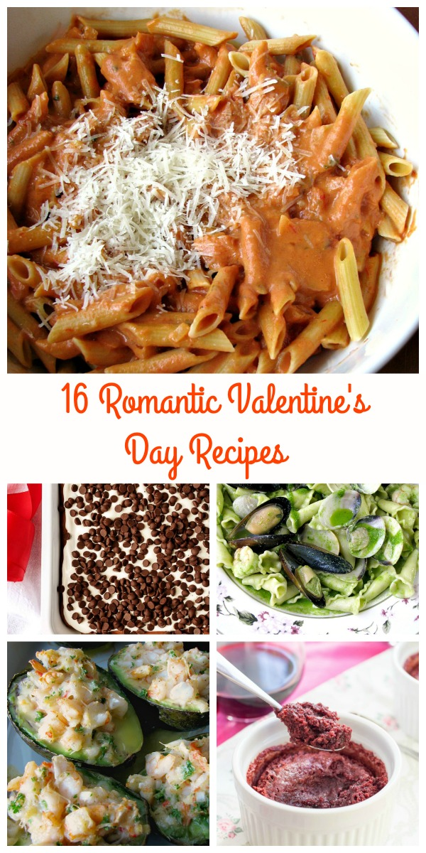 Collage Photo of Romantic Valentine's Day Recipes showing individual dishes