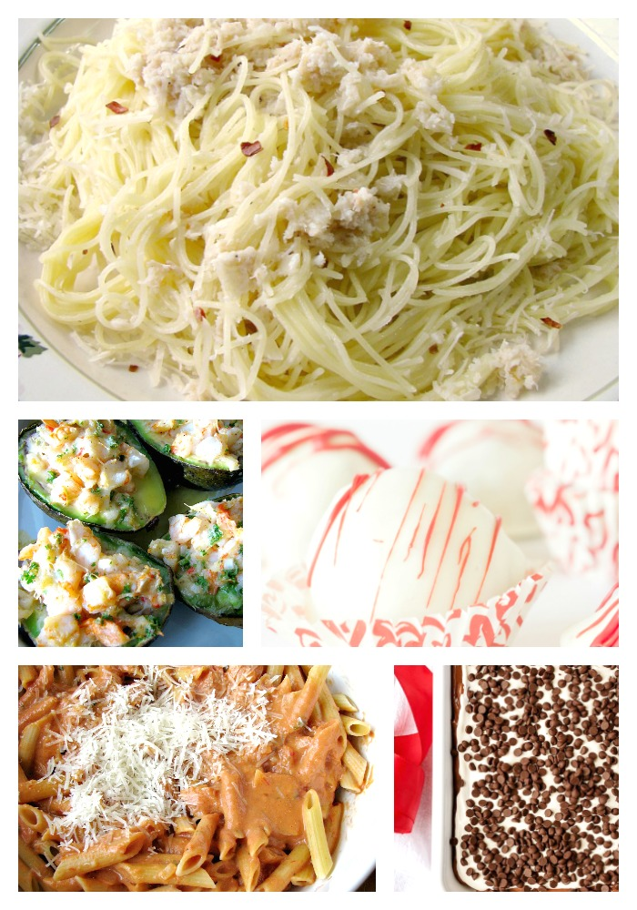 Collage photo of a variety of Romantic Valentine's Day Recipes