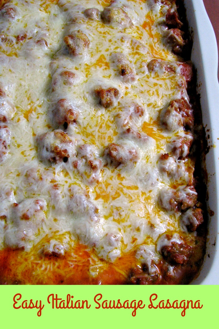 Baked Easy Italian Sausage Lasagna un-sliced in a baking dish