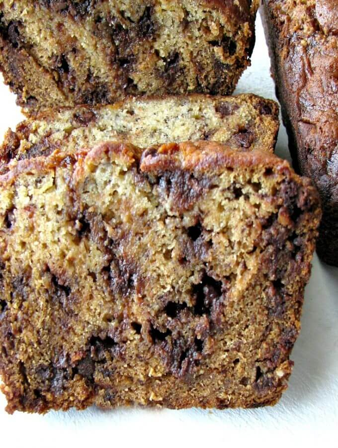 Close up picture of sliced chocolate chip banana bread