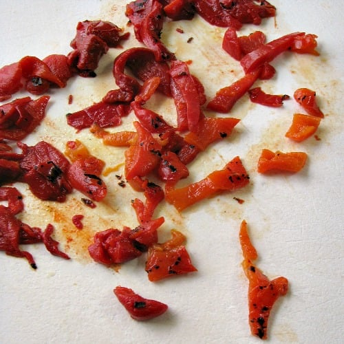 photo of chopped Cento brand roasted red peppers