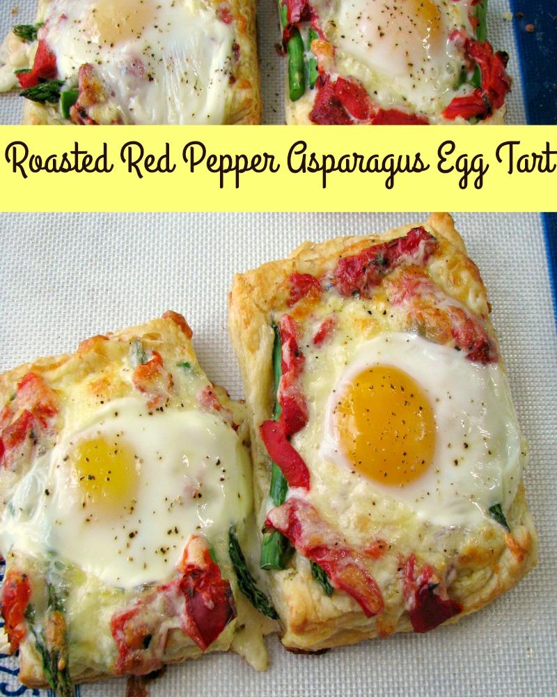 photo of baked Roasted Red Pepper Asparagus Egg Tart squares