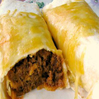 Cheesy Pumpkin Chorizo Burritos  #PumpkinWeek