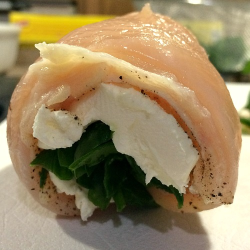 Photo of rolled chicken breast stuffed with spinach and cream cheese