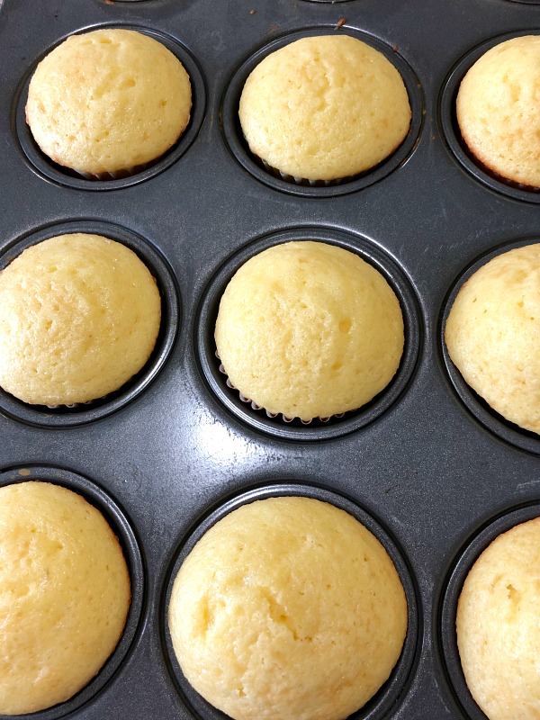 photo of baked champagne cupcakes before icing