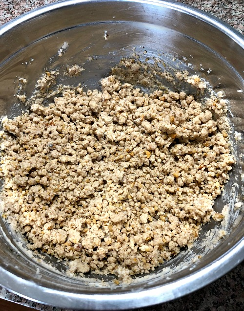 photo of dough for Walnut Crumb Cookies in a metal mixing bowl