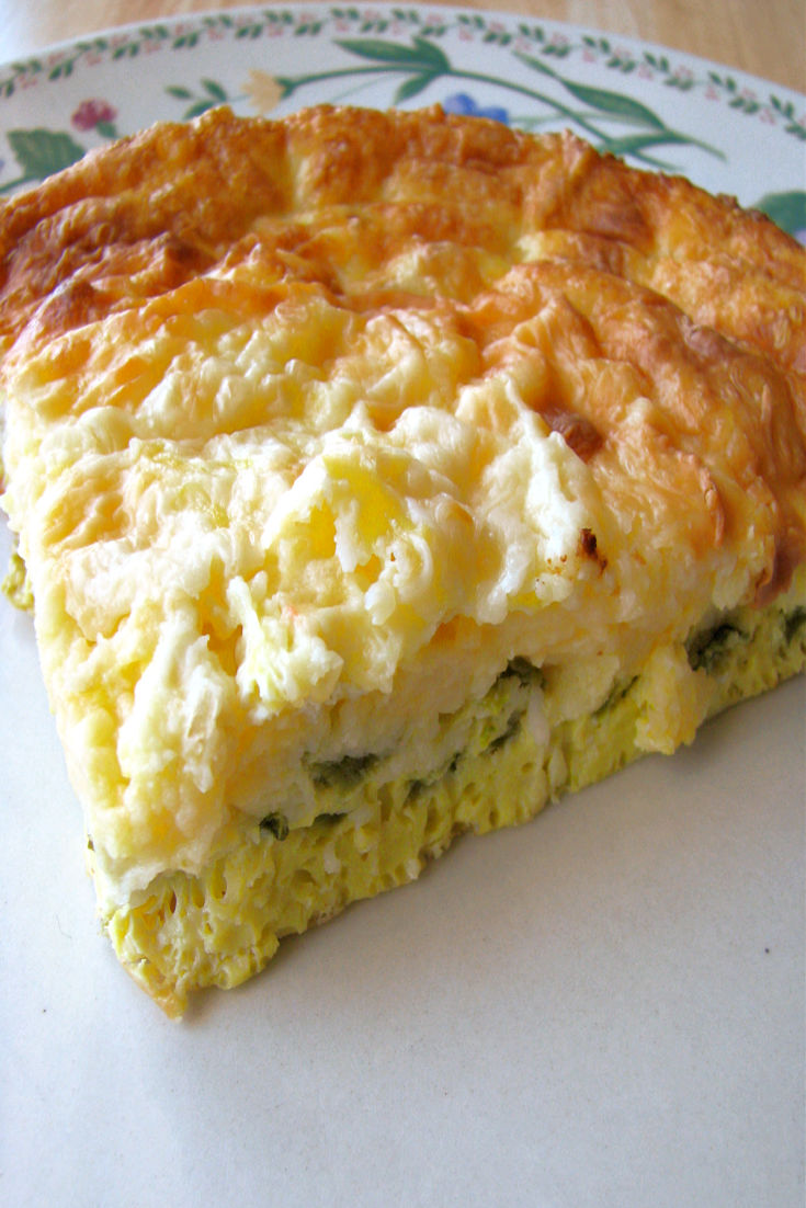photo of a piece of chile relleno casserole on a small plate