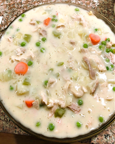 photo of creamy broth filled pot pie