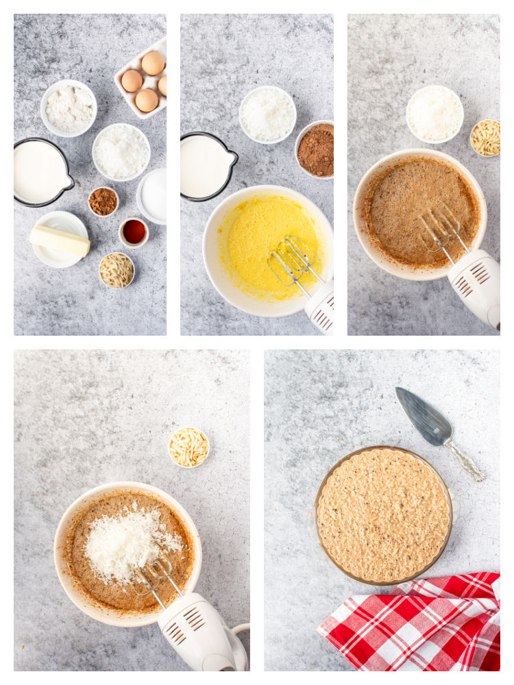 collage photo of ingredients for the pie and step by step photos of the preparation