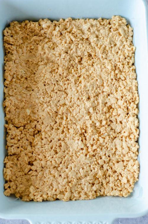 photo of RIce Krispie mixture in a pan
